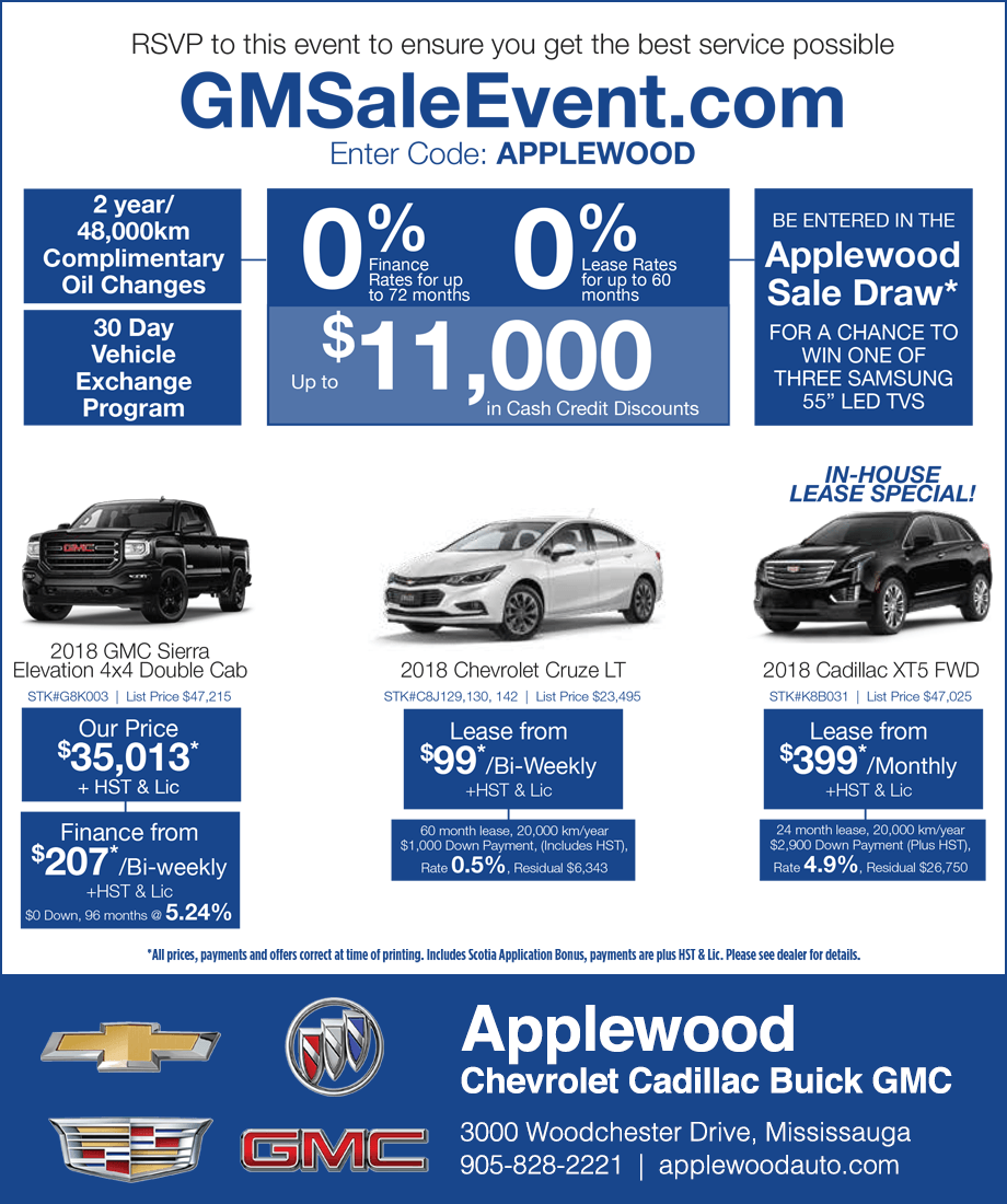 Applewood Chevrolet Cadillac Buick GMC Mississauga Sale Event