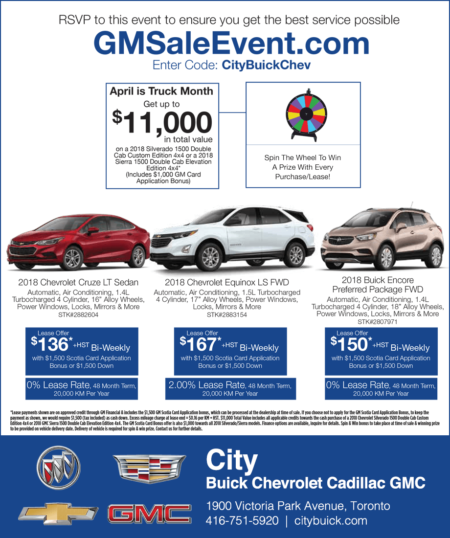 City Buick Chevrolet Cadillac GMC Toronto Sale Event