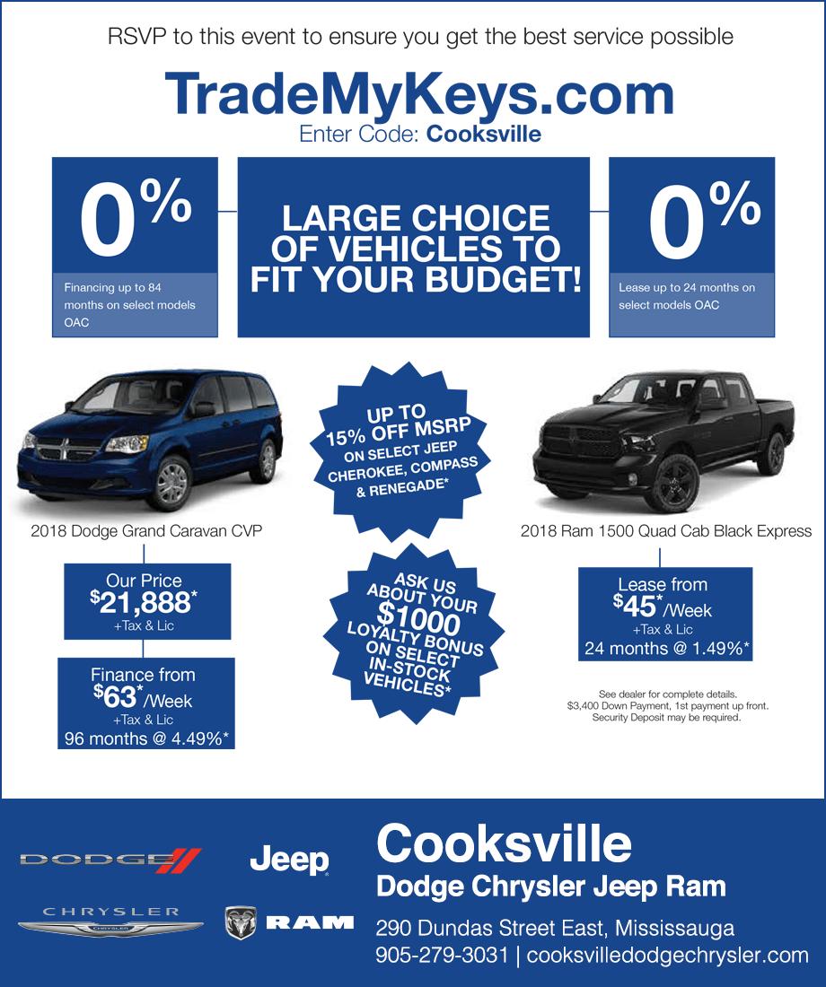 Cooksville Dodge Chrysler Jeep RAM Mississauga Sale Event