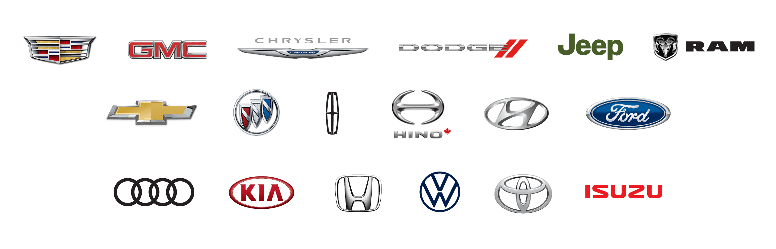 Different vehicle manufacturer logos